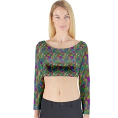Pattern Abstract Paisley Swirls Long Sleeve Crop Top by Simbadda