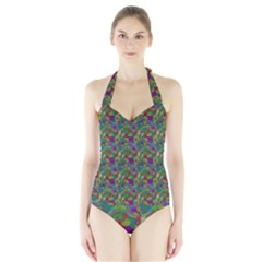 Pattern Abstract Paisley Swirls Halter Swimsuit by Simbadda