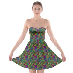 Pattern Abstract Paisley Swirls Strapless Bra Top Dress by Simbadda