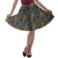 Pattern Abstract Paisley Swirls A Line Skater Skirt by Simbadda