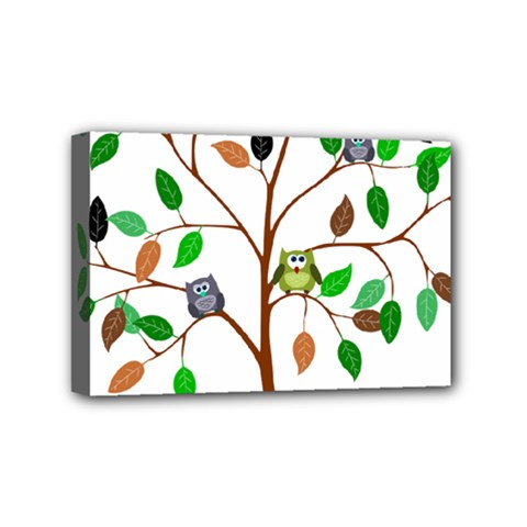 Tree Root Leaves Owls Green Brown Mini Canvas 6  X 4  by Simbadda