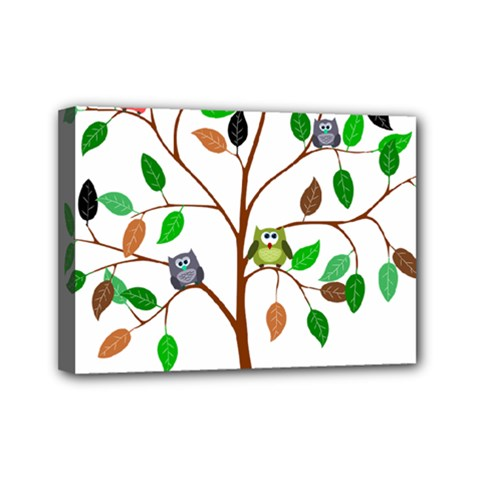 Tree Root Leaves Owls Green Brown Mini Canvas 7  X 5