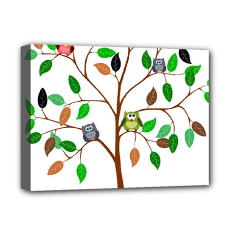 Tree Root Leaves Owls Green Brown Deluxe Canvas 16  X 12