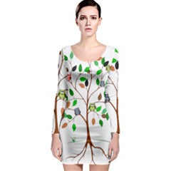 Tree Root Leaves Owls Green Brown Long Sleeve Bodycon Dress
