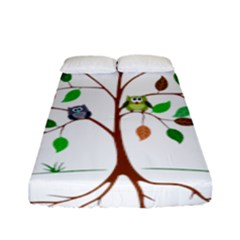 Tree Root Leaves Owls Green Brown Fitted Sheet (full/ Double Size) by Simbadda