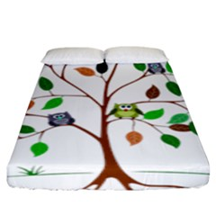 Tree Root Leaves Owls Green Brown Fitted Sheet (king Size) by Simbadda