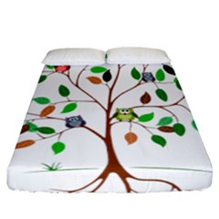 Tree Root Leaves Owls Green Brown Fitted Sheet (california King Size)