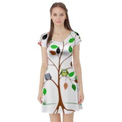 Tree Root Leaves Owls Green Brown Short Sleeve Skater Dress by Simbadda
