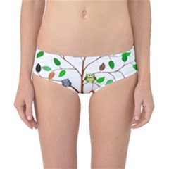 Tree Root Leaves Owls Green Brown Classic Bikini Bottoms