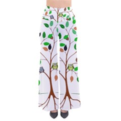 Tree Root Leaves Owls Green Brown Pants by Simbadda