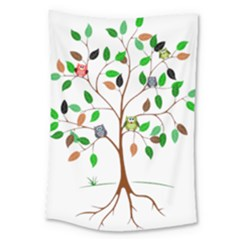 Tree Root Leaves Owls Green Brown Large Tapestry by Simbadda