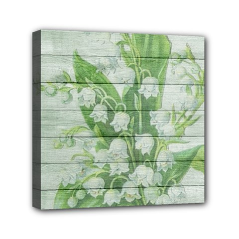 On Wood May Lily Of The Valley Mini Canvas 6  X 6  by Simbadda