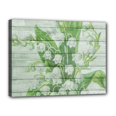 On Wood May Lily Of The Valley Canvas 16  X 12  by Simbadda