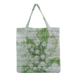 On Wood May Lily Of The Valley Grocery Tote Bag by Simbadda