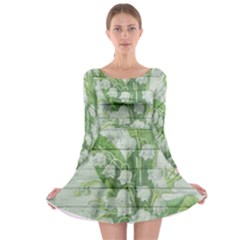 On Wood May Lily Of The Valley Long Sleeve Skater Dress