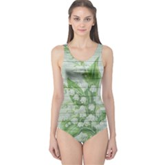 On Wood May Lily Of The Valley One Piece Swimsuit by Simbadda