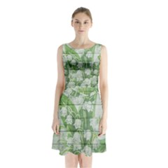 On Wood May Lily Of The Valley Sleeveless Chiffon Waist Tie Dress