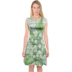 On Wood May Lily Of The Valley Capsleeve Midi Dress by Simbadda
