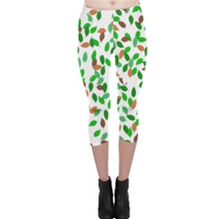 Leaves True Leaves Autumn Green Capri Leggings  by Simbadda