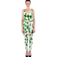 Leaves True Leaves Autumn Green Onepiece Catsuit by Simbadda
