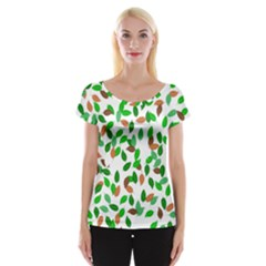 Leaves True Leaves Autumn Green Women s Cap Sleeve Top by Simbadda