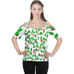 Leaves True Leaves Autumn Green Women s Cutout Shoulder Tee by Simbadda