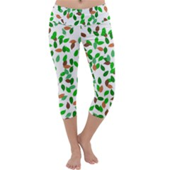 Leaves True Leaves Autumn Green Capri Yoga Leggings by Simbadda
