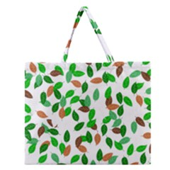 Leaves True Leaves Autumn Green Zipper Large Tote Bag by Simbadda