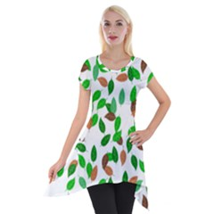 Leaves True Leaves Autumn Green Short Sleeve Side Drop Tunic by Simbadda
