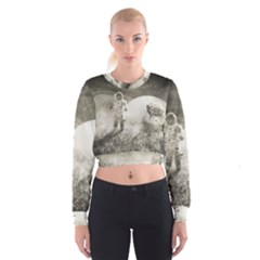 Astronaut Space Travel Space Women s Cropped Sweatshirt