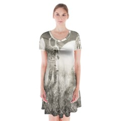 Astronaut Space Travel Space Short Sleeve V Neck Flare Dress by Simbadda
