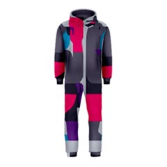 Strong Bear Animals Boxing Red Purple Grey Hooded Jumpsuit (kids)