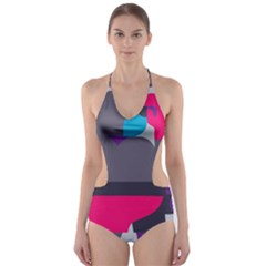 Strong Bear Animals Boxing Red Purple Grey Cut Out One Piece Swimsuit