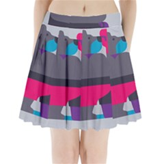 Strong Bear Animals Boxing Red Purple Grey Pleated Mini Skirt