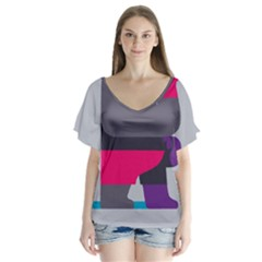 Strong Bear Animals Boxing Red Purple Grey Flutter Sleeve Top