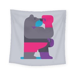 Strong Bear Animals Boxing Red Purple Grey Square Tapestry (small)