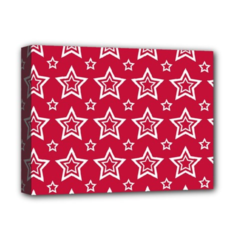 Star Red White Line Space Deluxe Canvas 16  X 12   by Alisyart