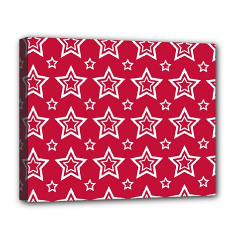 Star Red White Line Space Deluxe Canvas 20  X 16   by Alisyart