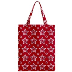 Star Red White Line Space Zipper Classic Tote Bag