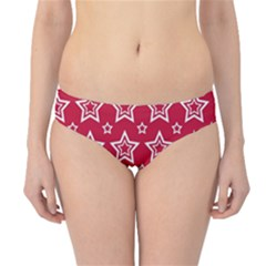 Star Red White Line Space Hipster Bikini Bottoms by Alisyart
