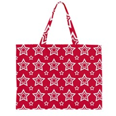 Star Red White Line Space Zipper Large Tote Bag by Alisyart