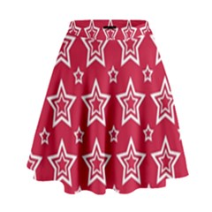 Star Red White Line Space High Waist Skirt