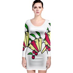 Tomatoes Carrots Long Sleeve Bodycon Dress
