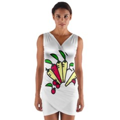 Tomatoes Carrots Wrap Front Bodycon Dress