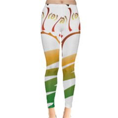 Sunset Spring Graphic Red Gold Orange Green Classic Winter Leggings