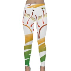 Sunset Spring Graphic Red Gold Orange Green Classic Yoga Leggings by Alisyart