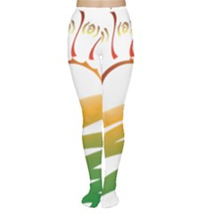 Sunset Spring Graphic Red Gold Orange Green Women s Tights