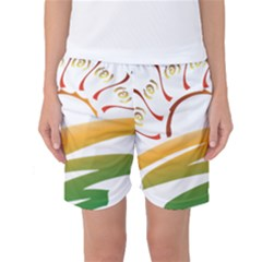 Sunset Spring Graphic Red Gold Orange Green Women s Basketball Shorts by Alisyart