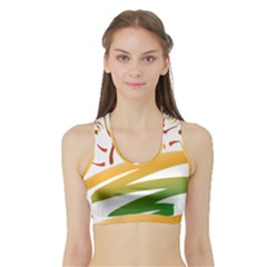 Sunset Spring Graphic Red Gold Orange Green Sports Bra With Border by Alisyart