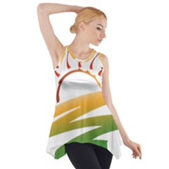 Sunset Spring Graphic Red Gold Orange Green Side Drop Tank Tunic by Alisyart